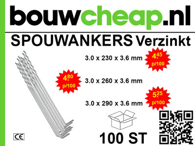 Spouwankers 290mm (100 st.)