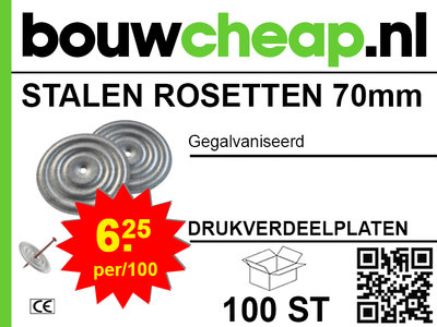 Stalen rosetten 70mm (100 stuks)