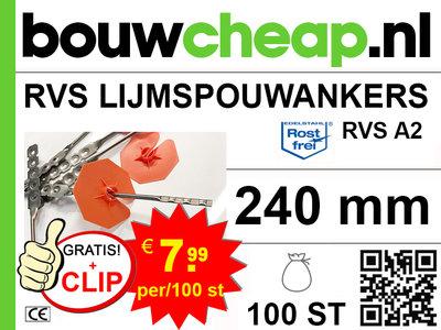 RVS Lijmspouwankers 240mm met GRATIS! isolatieclip oranje