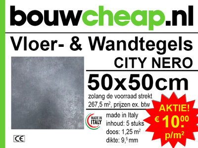 Vloertegels 50x50cm City Nero