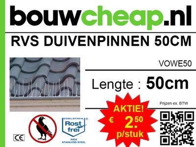 RVS Duivenpinnen 50 CM