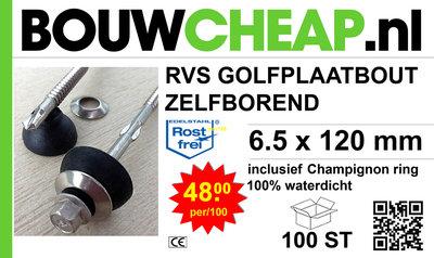 Golfplaatbout RVS A2 Zelfborend 6,5x120mm